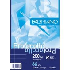 FABRIANO FOGLI PROTOCOLLO PACCO 200 FOGLI RIGHE CON MARGINE VAR 0
