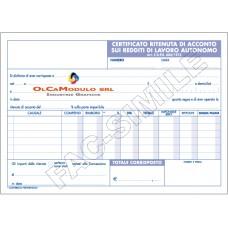 BLOCCO CERTIFICATO RITENUTA ACCONTO REDDITI LAVORO AUTONOMO CF.5