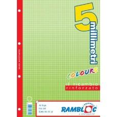 RAMBLOC RICAMBIO QUADERNO AD ANELLI RINFORZATO 40FF 21X30 (A4) -5M- VERDE