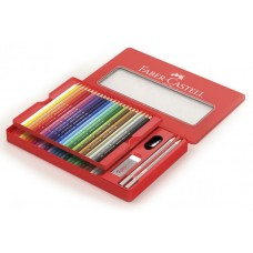 FABER-CASTELL ASTUCCIO METALLO RED RANGE 48 MATITE COLORATE PERMANENTI