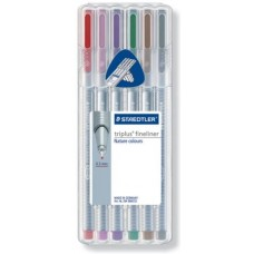 STAEDTLER TRIPLUS FINELINER BOX 6 PENNE NATURE COLOURS
