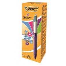 BIC 4 COLOURS GRIP FASHION CONF.12