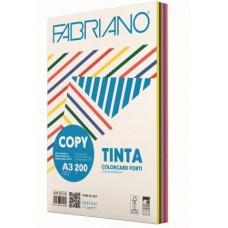 FABRIANO COPY TINTA A3 200GR COLORCARD 5 COLORI FORTI 100FF