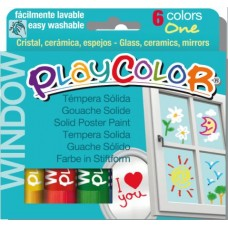 PLAYCOLOR TEMPERA SOLIDA WINDOW ONE 6 COL.ASS.10GR.