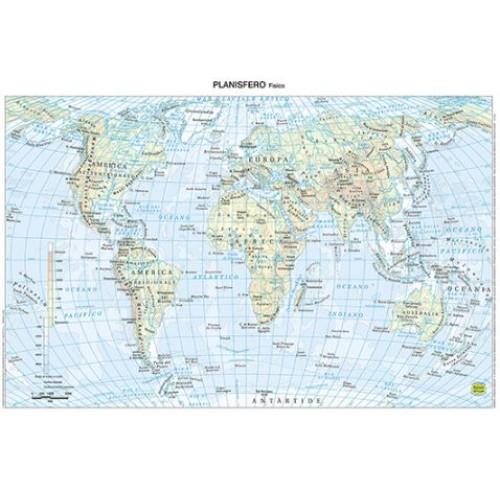 Cartina Muta Mondo Fisica.Cartina Mondo Formato 30x42 Cm Plastificata