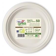 PIATTI GREEN TONDI DIAM.22 COMPOSTABILE BIO CF.50