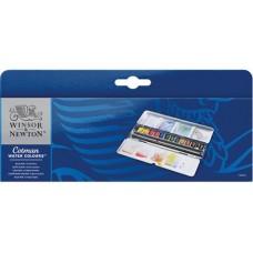 WN COTMAN ACQUARELLO FINE BLUE BOX METALLO 12 MEZZI GODET